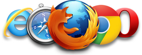 Browser logo's van Firefox, Chrome, Safari, Internet Explorer en Opera